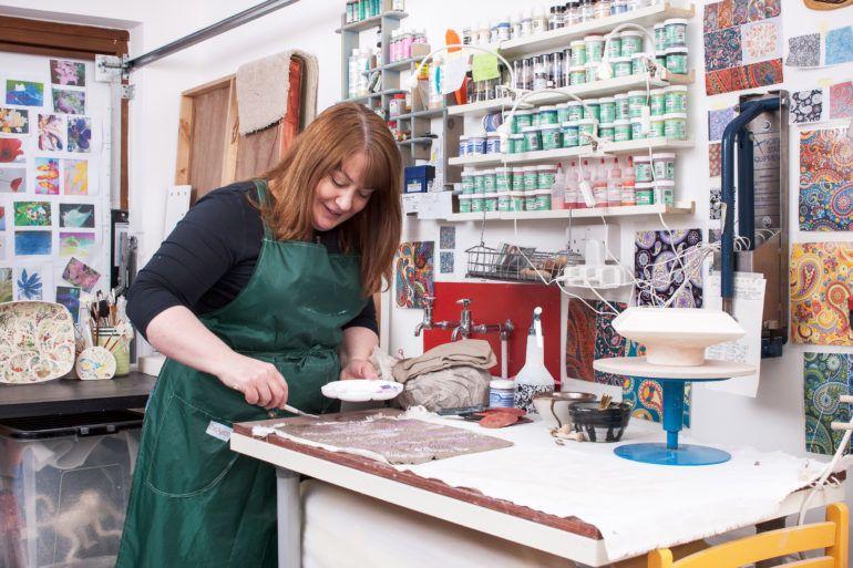 Ceramist Karen Hanvidge in her home studio