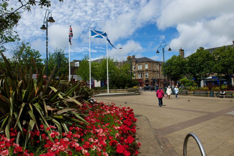 Flowers in Johnstone town centre