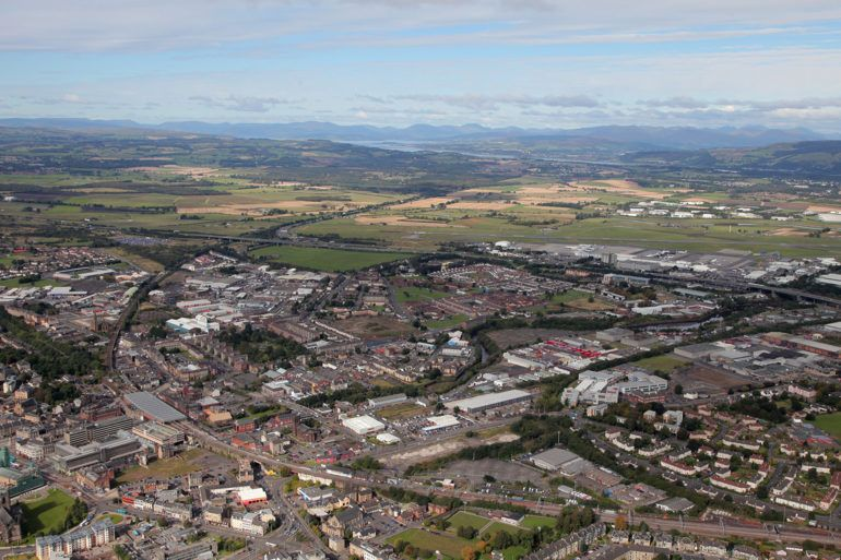 Aerial view of Paisley