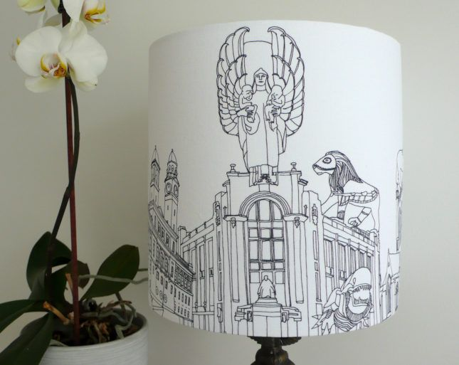 Incube shop lampshade with design of the outside of the Russle Institute by KCD Designs