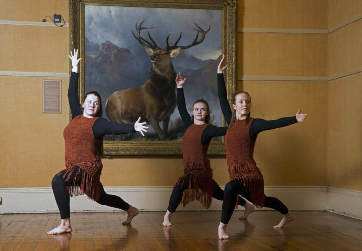 Local dancers from right2dance perform infront of the Monarch of the Glen painting at Paisley museum.