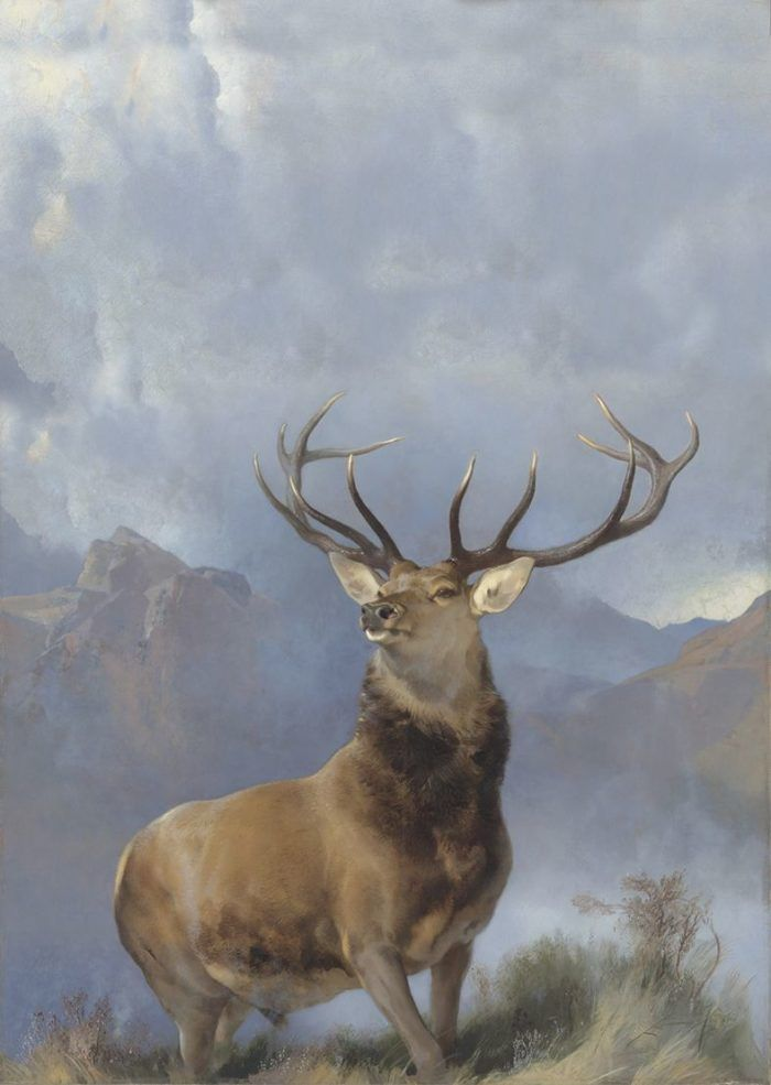 Sir Edwin Landseer, The Monarch of the Glen (about 1851). Purchased by the National Galleries of Scotland as a part gift from Diageo Scotland Ltd with contributions from the Heritage Lottery Fund, Dunard Fund, the Art Fund, the William Jacob Bequest. The Tam O' Shanter Trust, the Turtleton Trust, and the K.T. Wiedemann Foundation, Inc and through public appear, 2017. )