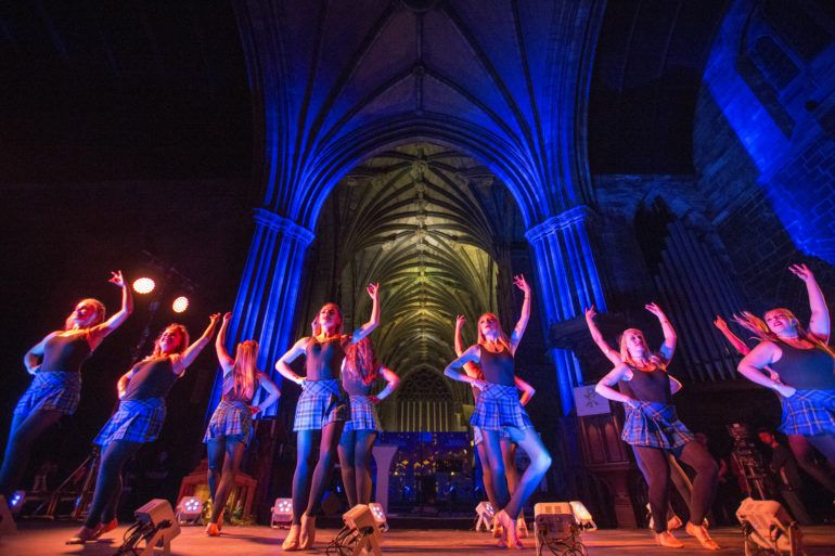 Dancers performing in Paisley Abbey