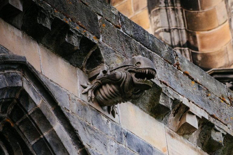 Alien gargoyle on Paisley Abbey