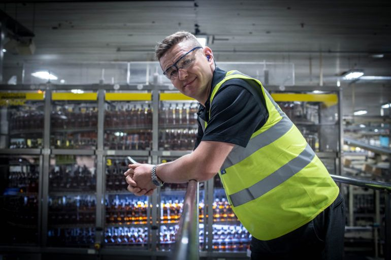 Worker at Diageo bottling plant