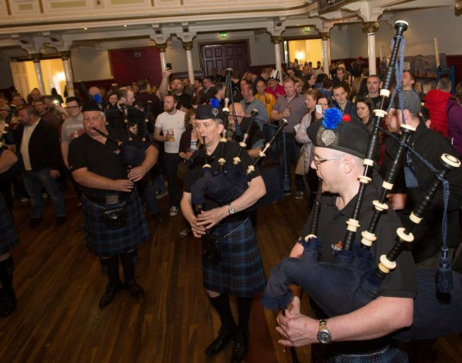 Bagpipers play at Paisley Beer Festival