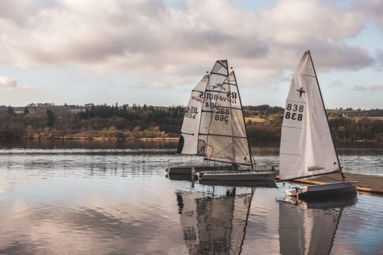 White boats on Castle Semple loch