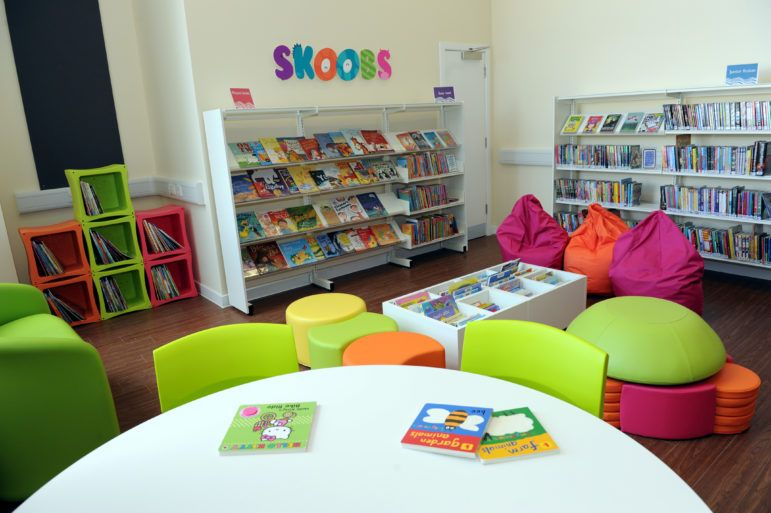 Colourful chairs and beanbags in Linwood Library at the Tweedie Hall