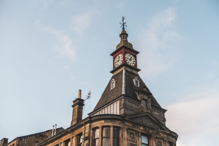Tartan Rose clock tower in Paisley's West End