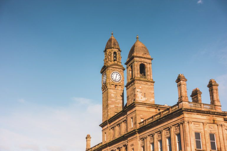 Paisley Town Hall towers in the sunshine