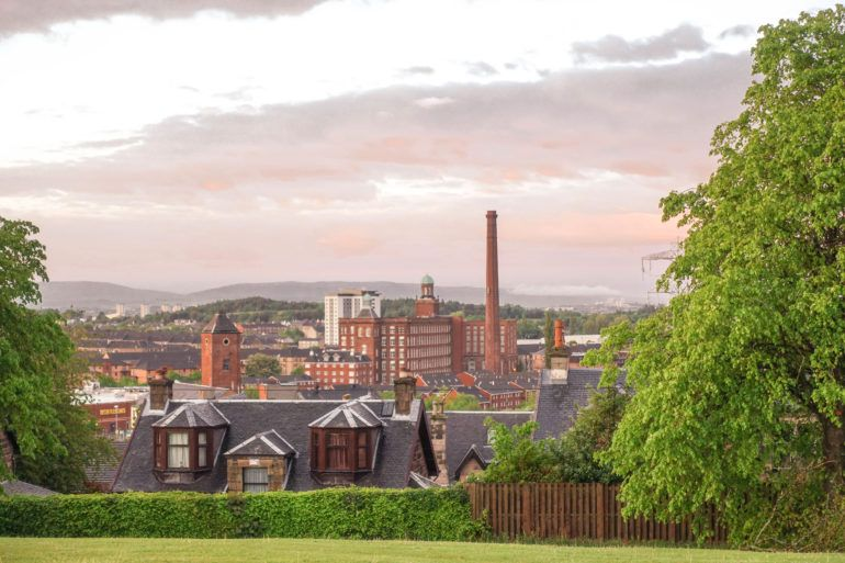 View of Paisley from Saucel Hill in the summer