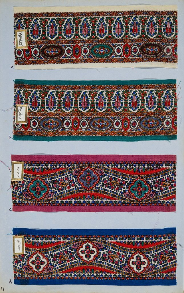 © Renfrewshire Council. Originals held by Paisley Museum. Printed samples of shawl borders. Measurements - 410mm x 275mm x 6mm.
