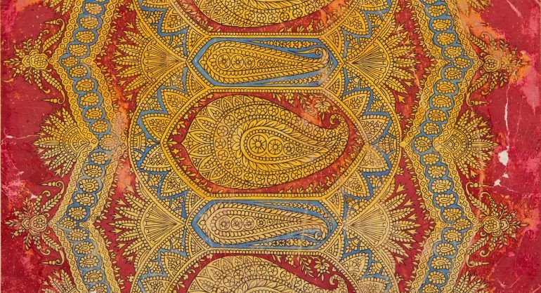 © Renfrewshire Council. Originals held by Paisley Museum. Sketches and designs on paper for printed and woven shawls. Measurements - 710mm x 595mm x 31mm.