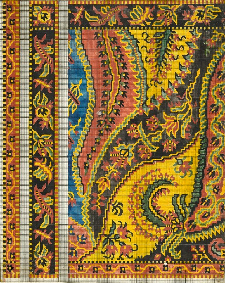 © Renfrewshire Council. Originals held by Paisley Museum. Designs on paper for Paisley shawls. Calculations and text handwritten on reverse. Measurements - 472mm x 397mm x 63mm.