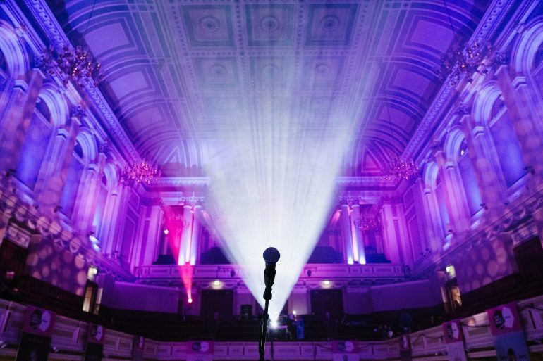 Microphone on stage in Paisley Town Hall
