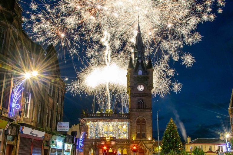 Fireworks over Renfrew Town Hall