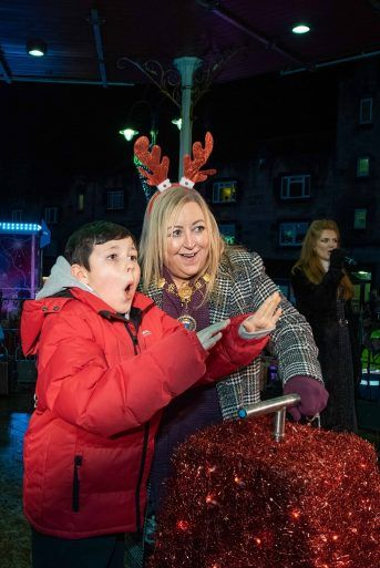 Provost and child at Johnstone Christmas Lights