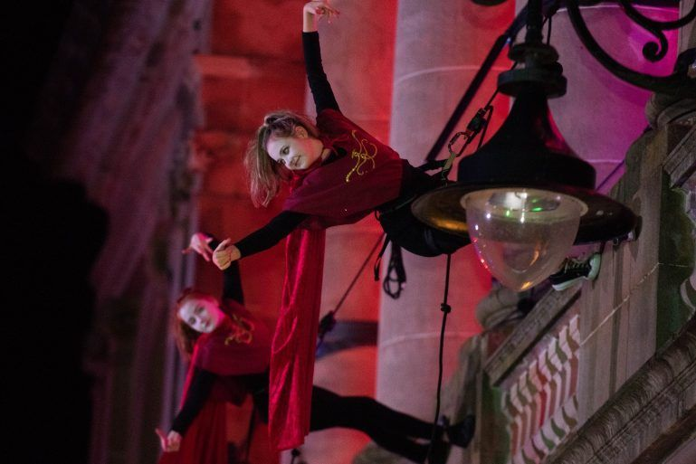 Aerial performers at Paisley Town Hall