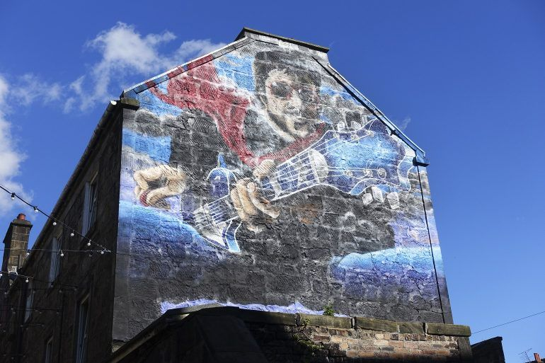 Gerry Rafferty mural on Browns Lane, Paisley