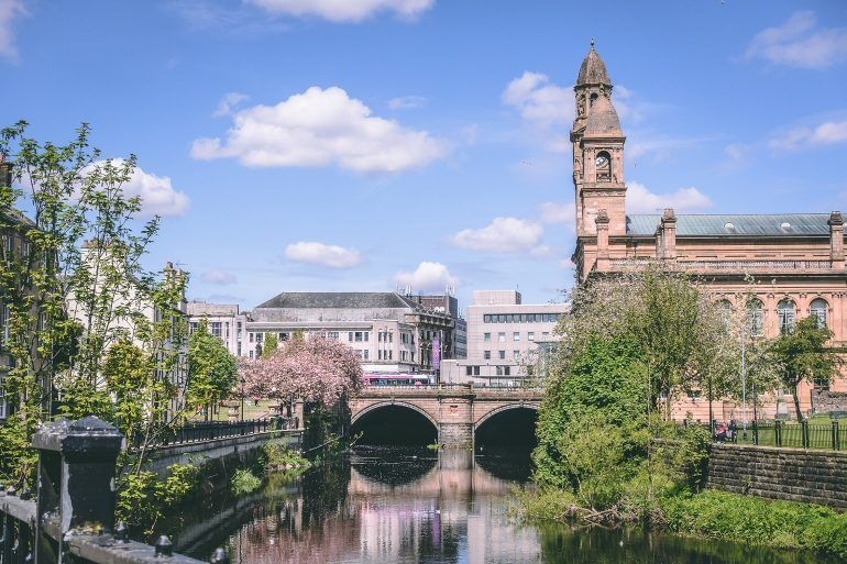 View along river from Forbes Place, Paisley