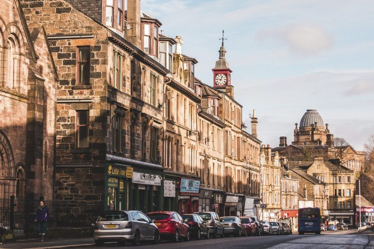 Paisley Broomlands Street with view of John Neilson