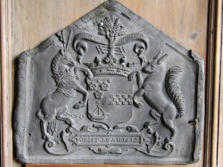The lead crest from the coffin of the countess of Abercorn (d. 1632) in Paisley Abbey