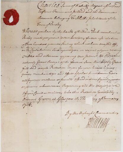 Jacobite receipt to Paisley town magistrates