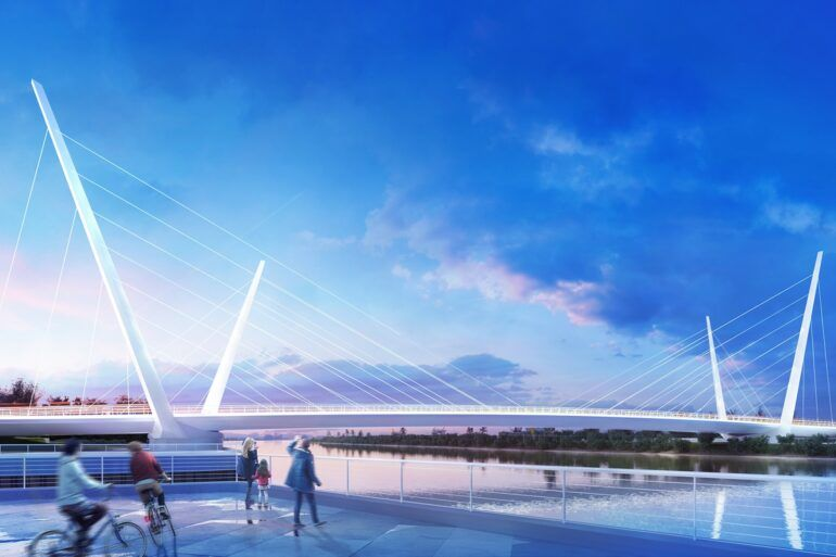 Artist's impression of new bridge at Clyde Waterfront and Renfrew Riverside